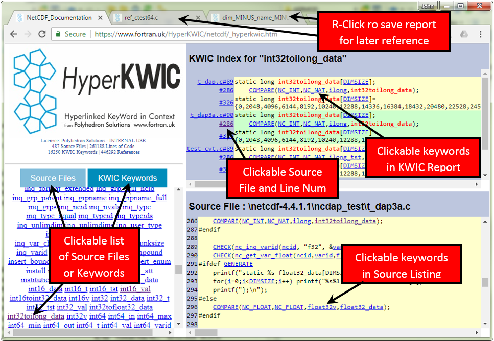 HyperKWIC Software Documentation Screen Shot